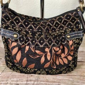 Fossil purse tapestry brocade carpet bag crossbody